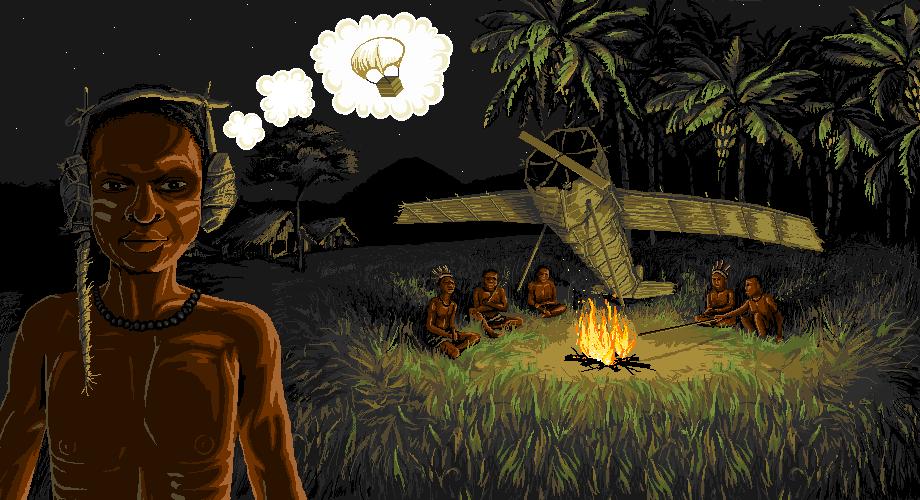 В южной части Тихого океана есть островной народ, создавший культ карго. Во время войны там пролетали самолёты с множеством ценных для этого племени вещей, и народ мечтает, чтобы это вернулось. Они построили «взлётные полосы», зажигают вдоль них огни, сконструировали деревянную вышку, в которой сидит «диспетчер» в деревянных наушниках с бамбуковыми палками вместо антенн, и ждут, что самолеты прилетят.