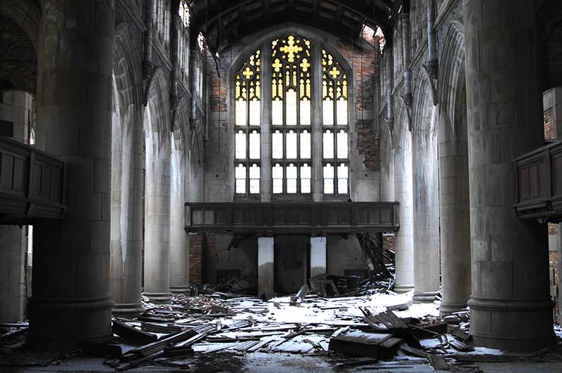 Заброшенная церковь в Гэри, штат Индиана, США