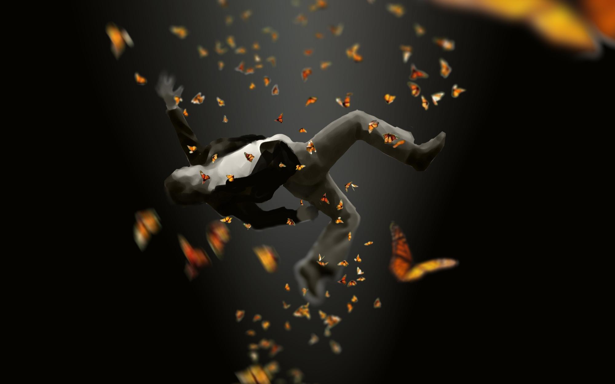 Александер падает вниз сквозь долину кружащихся бабочек.