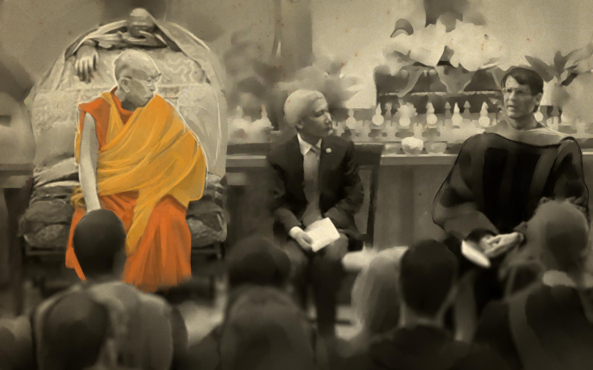 Александер и Далай-лама приглашены произнести речь для выпускников буддистского колледжа «Майтрипа» в Портланде, Орегон.
