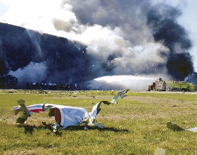 Обломки самолёта рейса 77.