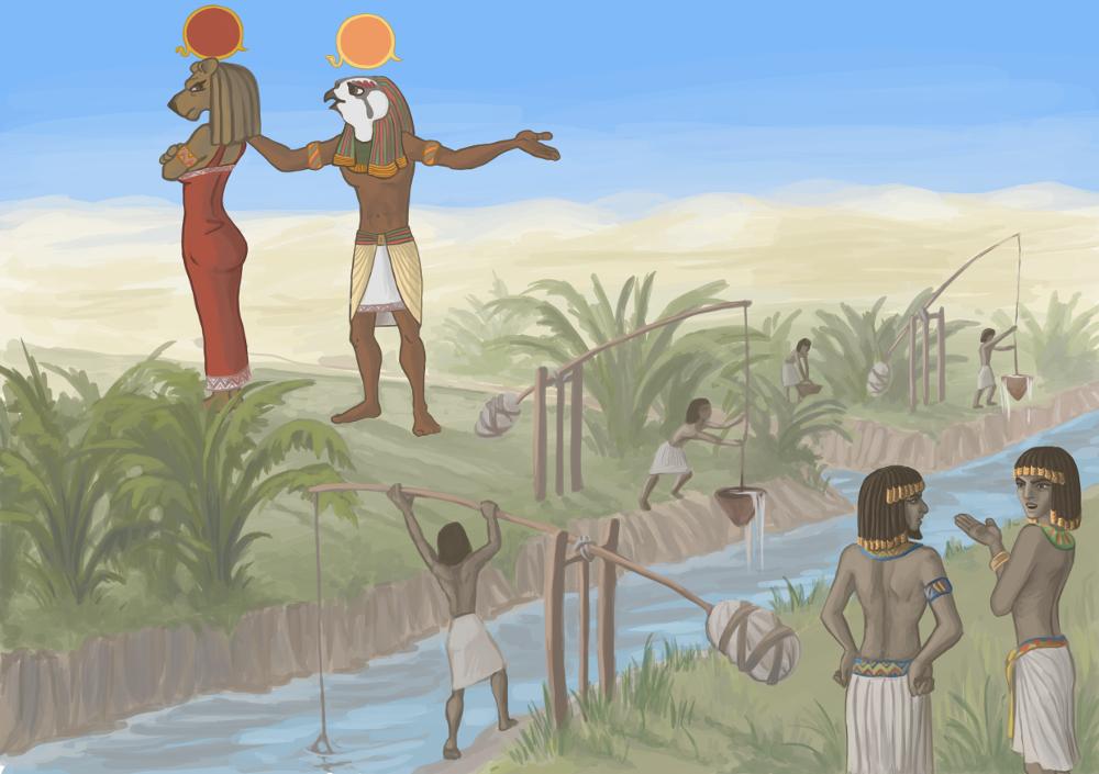 Ежегодный разлив Нила приводил к затоплению земли, возделываемой в долине реки, принося с собой плодородный ил. Неизменно смываемые границы дорог и возделываемых участков необходимо было восстанавливать, а непригодные к дальнейшему использованию участки земли -- непосредственно измерять, что было важно для определения налога. Эти и другие задачи, не только из области земледелия, решали с помощью методов землемерия -- геометрии. Измерения площадей гарпедонапты (буквально -- «натягиватели верёвки») проводили с помощью разделённой на двенадцать частей верёвки и построенного по ней эталона.