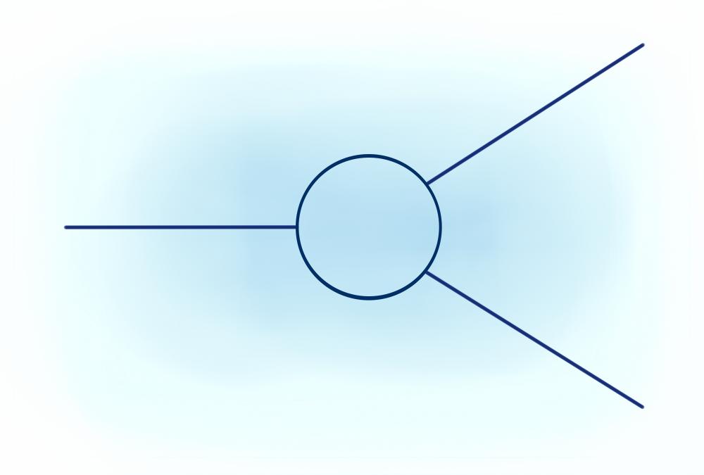 Однако возможен не только прямой процесс, а, например, такой, в котором участвует ряд виртуальных частиц.