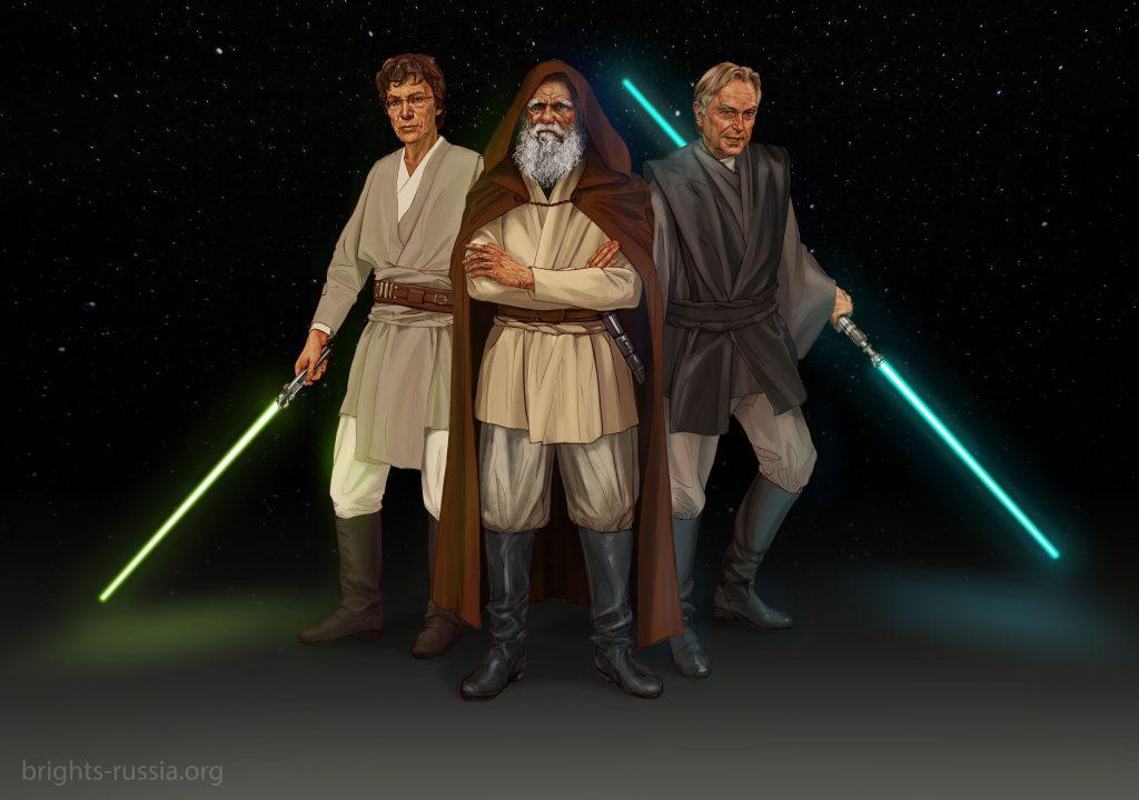 Для того чтобы стать участником конкурса и претендентом на победу, вам нужно придумать подпись к иллюстрации с джедаями Чарлзом Дарвиным, Ричардом Докинзом и Александром Марковым.