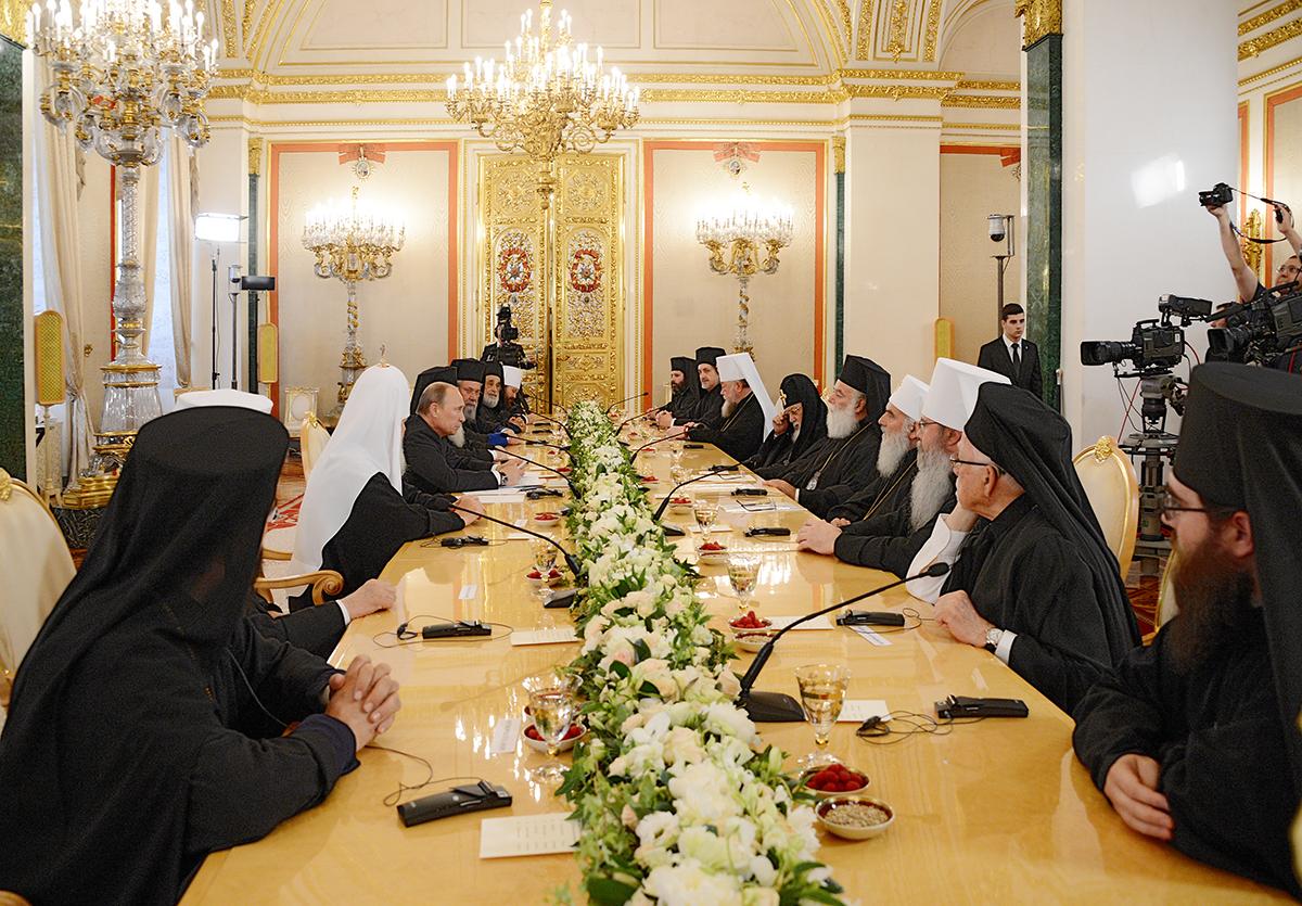 25 июля 2013 года на встрече В.В. Путина и иерархов 15 православных поместных церквей президент заявил, что «принятие христианства предопределило судьбу и цивилизационный выбор России».