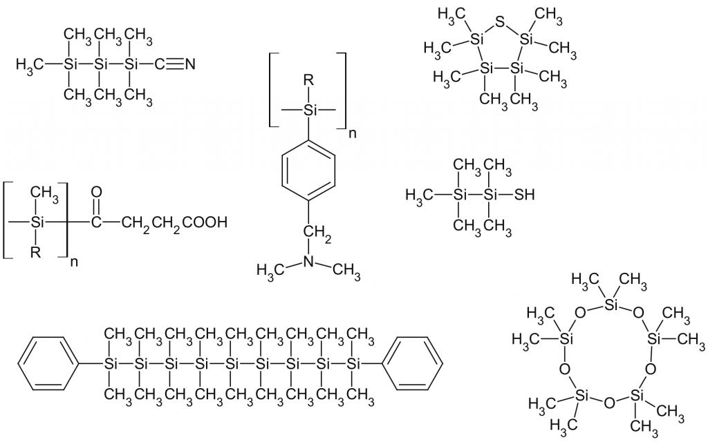 Структура некоторых кремнийорганических соединений. Справа внизу — декаметилциклопентасилоксан, широко используемый в увлажняющих кремах и другой косметике.