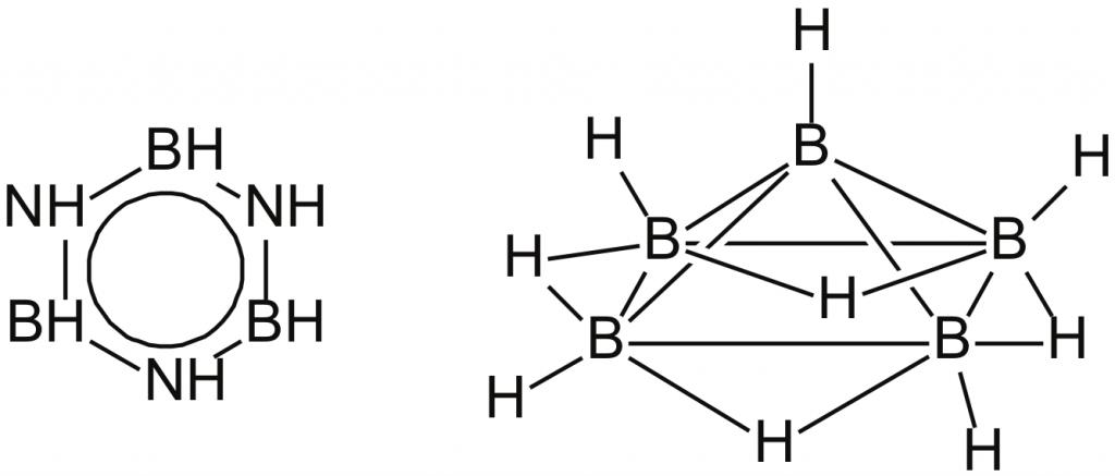 Структурные формулы боразола B3H6N3 (аналог бензола) и пентаборана B5H9.