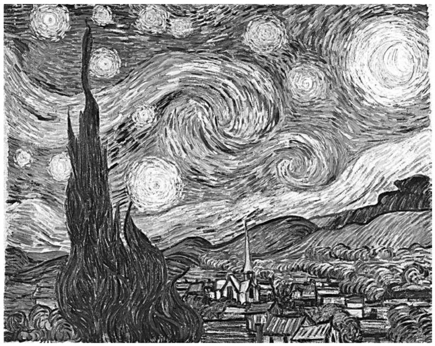 Эмерджентность повсюду. Рассмотрим какую-нибудь картину, например полотно Ван Гога «Звездная ночь». Холст и масло образуют физический артефакт. На определенном уровне это просто набор определенных атомов, каждый из которых обладает своим положением. В картине нет ничего, кроме этих атомов. Ван Гог не приправил ее никакой духовной энергией; он просто положил мазки на холст. Если бы атомы, из которых состоит картина, были расположены иначе, то это была бы уже другая картина.