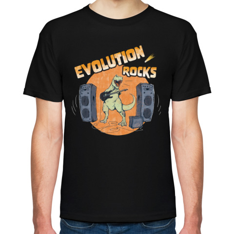 Чёрная футболка «Evolution rocks».