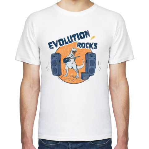 Белая футболка «Evolution rocks».