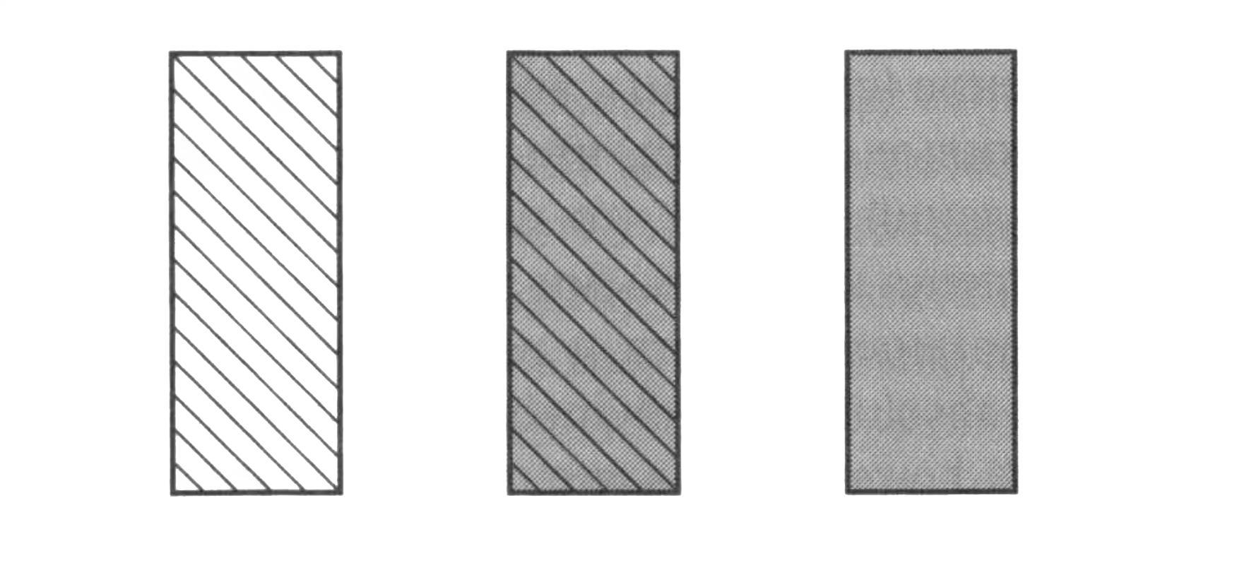 Расположение — это не только обязательный атрибут объекта в воображении, но также главный признак, который мозг использует, чтобы индивидуализировать и сосчитать объекты. Так, мы рассматриваем приведенную ниже совокупность как три объекта: один, крайний слева, — полосатый, другой, крайний справа, — серый и третий, посередине между ними, — одновременно и полосатый, и серый.