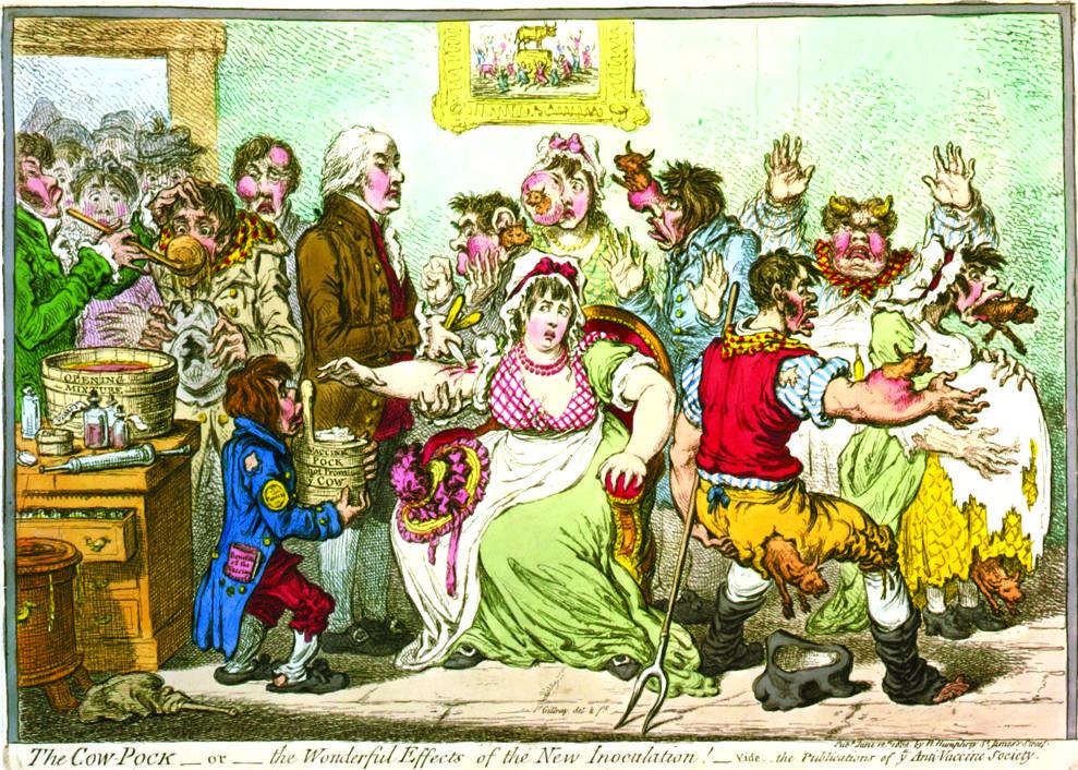 Старинная антипрививочная карикатура «Ближайшие чудовищные последствия оспопрививания».